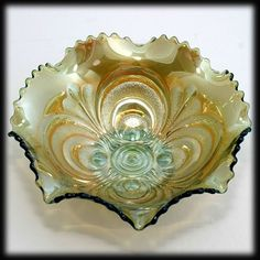 Imperial Carnival Glass Scroll Embossed Bowl Green Antique Iridescent