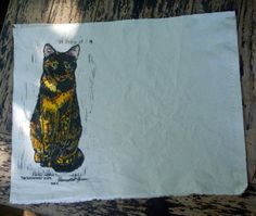 Tortie Cats Placemats, The Roundest Eyes Set, #handmade, hand-printed, hand-painted on #Etsy