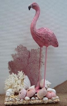 This is really pretty, normally I don't like this sort of thing. Seashell Candles, Seashell Art, Seashell Crafts, Beach Crafts, Flamingo Craft, Shell Display, Fan Coral, Pattern Texture, Wood Bird
