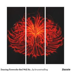 Shop Dancing Fireworks-Red Wall Art Stretched Canvas created by brucestradling. Red Wall Art, Wall Art Sets, Bubble Art, Stretched Canvas, That Way, Fireworks, Fractals, 4th Of July, Dancing