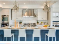 Blue island coastal kitchen