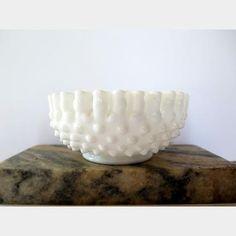 Hobnail Fenton Milk Glass Ruffled Edge Candy Dish | Kings Auction & Appraisal