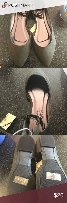 Women's flats size 9 Brand new, too small for me! Women's size 9, olive green color with gold buckle, suede like material Shoes Flats & Loafers