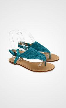 Turquoise crochet sandals