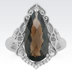 Vintage Pear Shaped Smoky Quartz and Round Diamond Ring from Shane Co.