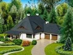 Casa cu mansarda in forma de L cu acoperis in 4 ape