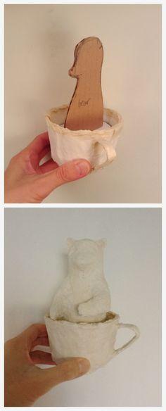 Artist in LA LA Land Illustration & Design: Creating Little Papier-Mache Animals in Tea Cup for Ego Fine Art Gallery