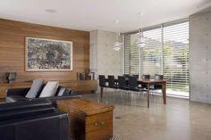 Beige concrete floor (warm), raw concrete window element?