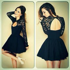 Women Girl Fashion Lace Dress Hollow out Backless Long Sleeves Dress Celebrity Style Sexy Night out Clubwear Dresses Party Dresses - Roupas e Moda - 1