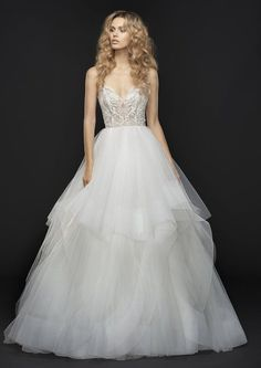 Style 6763 Jax Hayley Paige bridal gown - Ivory embroidered tulle bridal ball gown, sweetheart bodice with crystal and alabaster accent, t-strap back and cascading tulle skirt with horsehair trim.