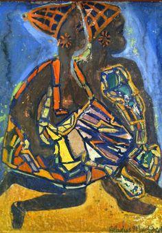 """Gladys 'Nomfanekiso' Mgudlandlu - """" Gladys Mgundlandlu was born near Peddie, Eastern Cape in 1923 to Mfengu parents. A dedicated art school teacher, Mgudlandlu began painting for herself. Famous Black Artists, Vivid Colors, Colours, Art School, School Teacher, Female Art, Wall Murals, Modern Art, Xhosa"""