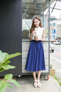 Shop for Sleeveless Blouse Belt Skirt Set at Korean Fashion Store. Find the hottest Korean fashion trends popular in South Korea here at our store. We are constantly adding new styles daily, clothes come directly from South Korea. Jw Fashion, Autumn Fashion 2018, Fashion Moda, Asian Fashion, Modest Fashion, Daily Fashion, Girl Fashion, Vintage Fashion, Fashion Outfits