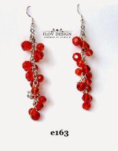 flov design: lovely red crystal beads earring