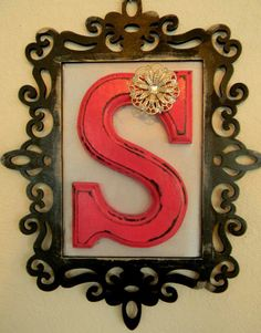 Monogram - wooden letter with painted frame around it- Beautiful for Jordans new room