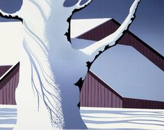 """© 2006 Eyvind Earle Publishing  Title:Red Barn and Tree Trunk8"""" X 10""""               To Order  ----  Please Call    831-625-1738 or Email:    info@gallery21.com"""