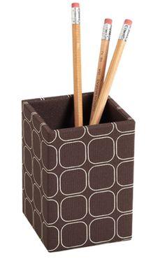 Brown pencil holder.