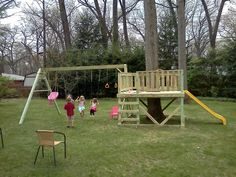 This playset might be too large for a small yard but the idea of building the fort around the tree is brilliant and might be adapted for a small yard.