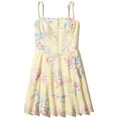 Hollister Button-Front Skater Dress ($50) ❤ liked on Polyvore featuring dresses, yellow pattern, smock dress, strappy cami, yellow skater dress, beige dress and yellow summer dress