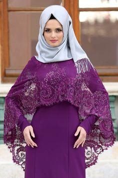 Tesettürlü Abiye Elbise - Boncuk Detaylı Mor Tesettürlü Abiye Elbise 43910MOR