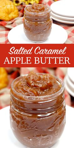 Salted Caramel Apple Butter made in the Slow Cooker and is Absolutely Delicious Fall Recipes 108719778492130045 Caramel Ingredients, Butter Ingredients, Jelly Recipes, Dessert Recipes, Baking Desserts, Homemade Caramel Sauce, Caramel Apple Jam Recipe, Homemade Apple Butter, Apple Butter Jelly Recipe