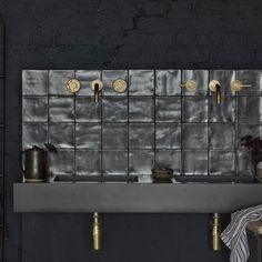 This exclusive bathroom range from Bert & May features brushed glazed tiles and a concrete basin Office Bathroom, Bathroom Interior, Modern Bathroom, Bathroom Black, Industrial Bathroom, Bathroom Furniture, Master Bathroom, Concrete Basin, Concrete Bathroom