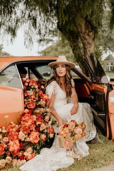 Wild roses cascading out of a getaway Camero were designed by Velvet Blooms at Roblar Farms, a beautiful Santa Barbara wedding venue. These warm tones are a perfect fall wedding color choice… #velvetblooms Southern California Florist Fall Wedding Colors, Green Wedding, Boho Wedding, Rustic Wedding, Wedding Ceremony, Wedding Venues, Bridal Hat, Bridal Style, Bohemian Wedding Inspiration