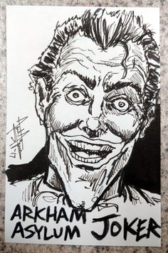 2017 - The Joker Sketch Cards project *ARKHAM ASYLUM JOKER: Another important take on the Joker over the last decade or so comes to us from Rocksteady's Batman: Arkham Asylum series of video games, where the Joker was also voiced by none other than Mark Hamill himself! #arielsartwork #joker #thejoker #batman #villain #dc #dccomics #comics #nonphotobluepencil #pencil #pen #marker #ink #sketch #drawing #illustration #art #markhamill #arkhamasylum #rocksteady