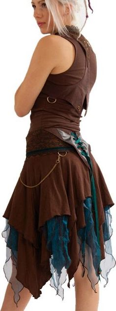 High Woman Fashion Brown and Teal outfit