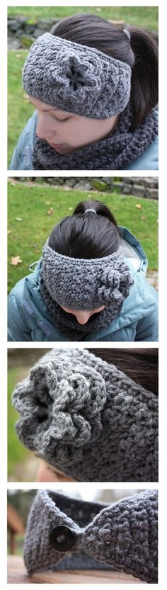 Repeat Crafter Me: Crochet Winter Headband with Flower (tolles Stirnband) Mode Crochet, Knit Or Crochet, Learn To Crochet, Crochet Scarves, Crochet Crafts, Yarn Crafts, Crochet Headbands, Quick Crochet, Crochet Beanie