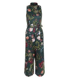 Green Floral Print Funnel Neck Tie Waist Jumpsuit  | New Look