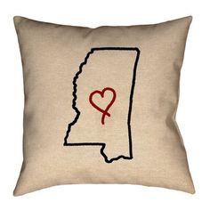 "Ivy Bronx Austrinus Mississippi Love Outline Double Sided Print Size: 16""  H x 16"" W, Type: Throw Pillow, Material: Faux Linen"
