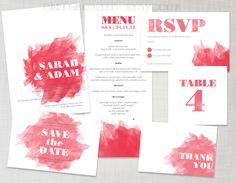 Printable Invitation Watercolor / Watercolour Paint design in Crimson (red). $22.00, via Etsy.