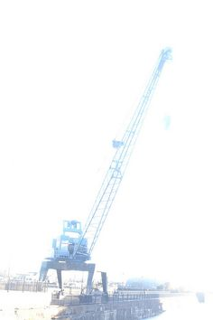 Over exposed crane in One of the old docks, Cardiff Bay