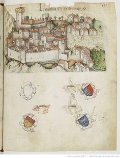 « Registre d'armes » ou armorial d'Auvergne, dédié par le hérault Guillaume REVEL au roi Charles VII.  Date d'édition :  1401-1500  Français 22297  Folio 447