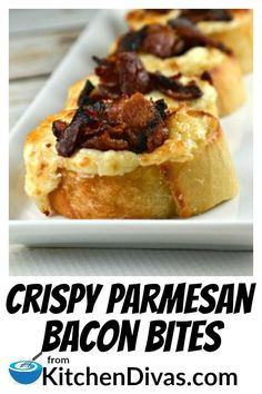 Crispy Parmesan Bacon Bites Crispy Parmesan Bacon Bites are an easy snack or appetizer to make! The cheesy parmesan mixture includes garlic, onions and as much bacon as you desire! Addictive and delicious! Finger Food Appetizers, Yummy Appetizers, Appetizers For Party, Finger Foods, Appetizer Recipes, Appetizer Dessert, Snacks Für Party, Easy Snacks, Yummy Snacks