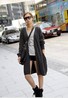 BuyTrends Single-breasted V-neck Loose Pocket Long Cardigan Oversized Sweaters for Women $17.32