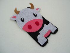Milkcow CASE - iPhone Case - Cell Phone Case - iPhone 4 Case - iPod Case - iPod Touch Case - Handmade Felt Case. $10.50, via Etsy.