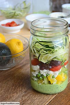 Mason Jar Zucchini Pasta Salad with Avocado Spinach Dressing / sugafreemom.com