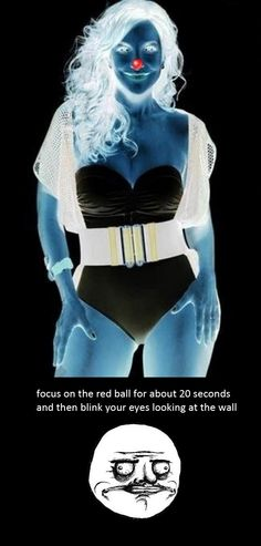 focus on the red dot for 20 seconds. then look away at a white wall or the white part of the computer screen.