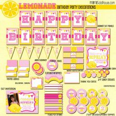 Lemonade Party Printable Collection http://mimisdollhouse.com/product/lemonade-party-printable-collection/ #lemonadeparty #lemonadeprintables