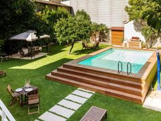 Above Ground Swimming Pools, Swimming Pools Backyard, Swimming Pool Designs, Pool Decks, In Ground Pools, Semi Above Ground Pool, Above Ground Pool Landscaping, Backyard Pool Landscaping, Backyard Pool Designs