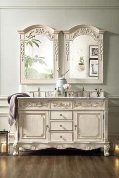 """Costa Blanca 60"""" James Martin Vintage Vanilla Bathroom Vanity Double Sink"""