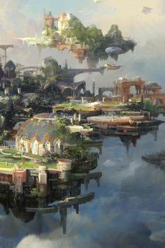 A series of three islands - the city, port, and Isara Runic Academy. Fantasy City, Fantasy Castle, World Of Fantasy, Fantasy Places, Fantasy Concept Art, Fantasy Artwork, Environment Concept Art, Environment Design, Fantasy Landscape