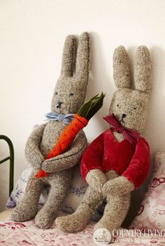 Lovely wool bunnies craft project to make from Sarah Moore. Photo: Alun Callender. http://www.countryliving.co.uk/create/craft/make-a-bunny