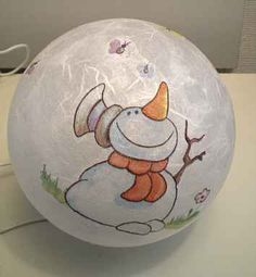 Leuchtkugel mit Schneemannmotiv