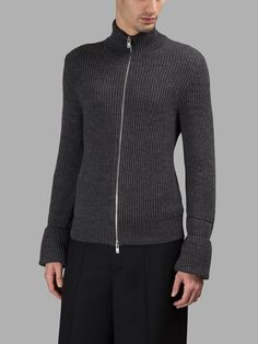 MAISON MARGIELA Maison Margiela Men'S Grey Zipped Sweater. #maisonmargiela #cloth #knitwear