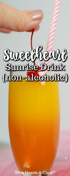 Sweetheart Sunrise Drink {non-alcoholic} Make your sweetie a Sweetheart Sunrise {non-alcoholic} Drink! Perfect for Valentine's Day, a great beverage for the entire family! Non Alcoholic Cocktails, Drinks Alcohol Recipes, Punch Recipes, Fun Cocktails, Party Drinks, Summer Drinks, Cocktail Drinks, Cold Drinks, Fun Drinks