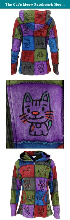 The Cat's Meow Patchwork Hooded Jacket,Multicolor,Large / X-Large. What could possibly be cozier than kitties? This patchwork hooded jacket is the cat's meow, with a one-of-a-kind look and front pockets to keep your kitty-petting hands nice and toasty. Due to the handmade nature of this product, exact colors and shades will vary.