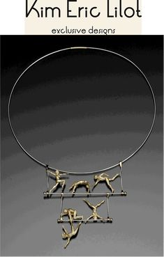 """Artist Kim Eric Lilot, """"Sign of Life Trapeze"""" Gold and Platinum necklace.  wow. see more ...  http://www.kimericlilot.com/home/"""