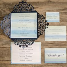 shades of blue beach themed laser cut wedding invitations EWWS079